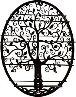 SoCal Buttercup Essential Oils & Nail Polish Organizer - Display Holder Storage Shelf from Oval Black with Tree Silhouette - Wall Mounted Round Rack Oil Bottle Storage (Black)