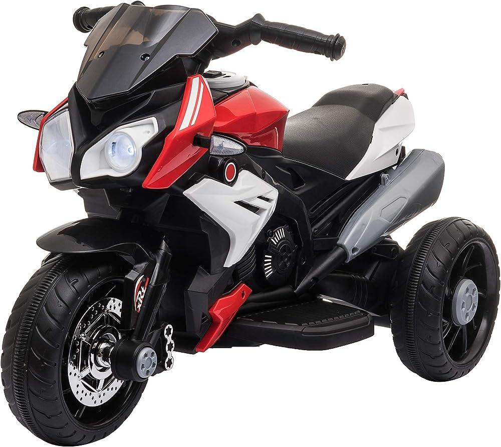 Homcom moto elettrica per bambini 3-6 anni con luci musica batteria 6v e velocità 3km/h IT370-103V90RD0631