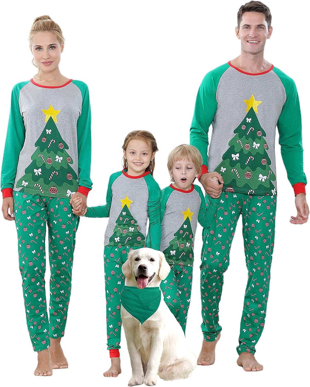 Benaive Matching Family Christmas Pajamas Set Boys Girls Holiday Pjs for Women Men Sleepwear
