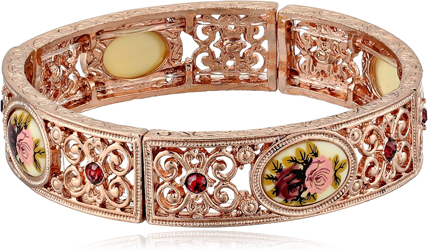 Today's only 1928 Jewelry Victorian Inspired Floral New Free Shipping Manor House Rose Gold-Ton