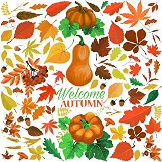 400 Pieces Fall Leaves Window Clings Stickers Thanksgiving Pumpkin Turkey Straw Hat Maple Leaves Acorns Window Stickers for Autumn Party Decorations, 3 Sheets (Style Set 1)