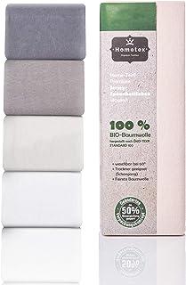Drap-housse bio jusqu'à 25 cm de hauteur - Drap housse 100 % coton bio 140 g/m² - Qualité supérieure - Certifié Öko-Tex St...