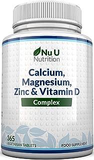 Calcium, Magnesium, Zinc & Vitamin D Supplement   365 Vegetarian Tablets   6 Month Supply of Nu U Nutrition Osteo Supplement