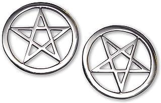 Real Metal Two Pentacle Pentagram Jacket or Hat Pins Polished Silver Finish Pewter