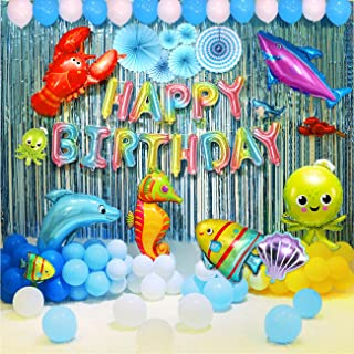 Ocean birthday party supplies for kids 91 Pcs Ocean shark Marine animal theme birthday party balloons decorations supplies...