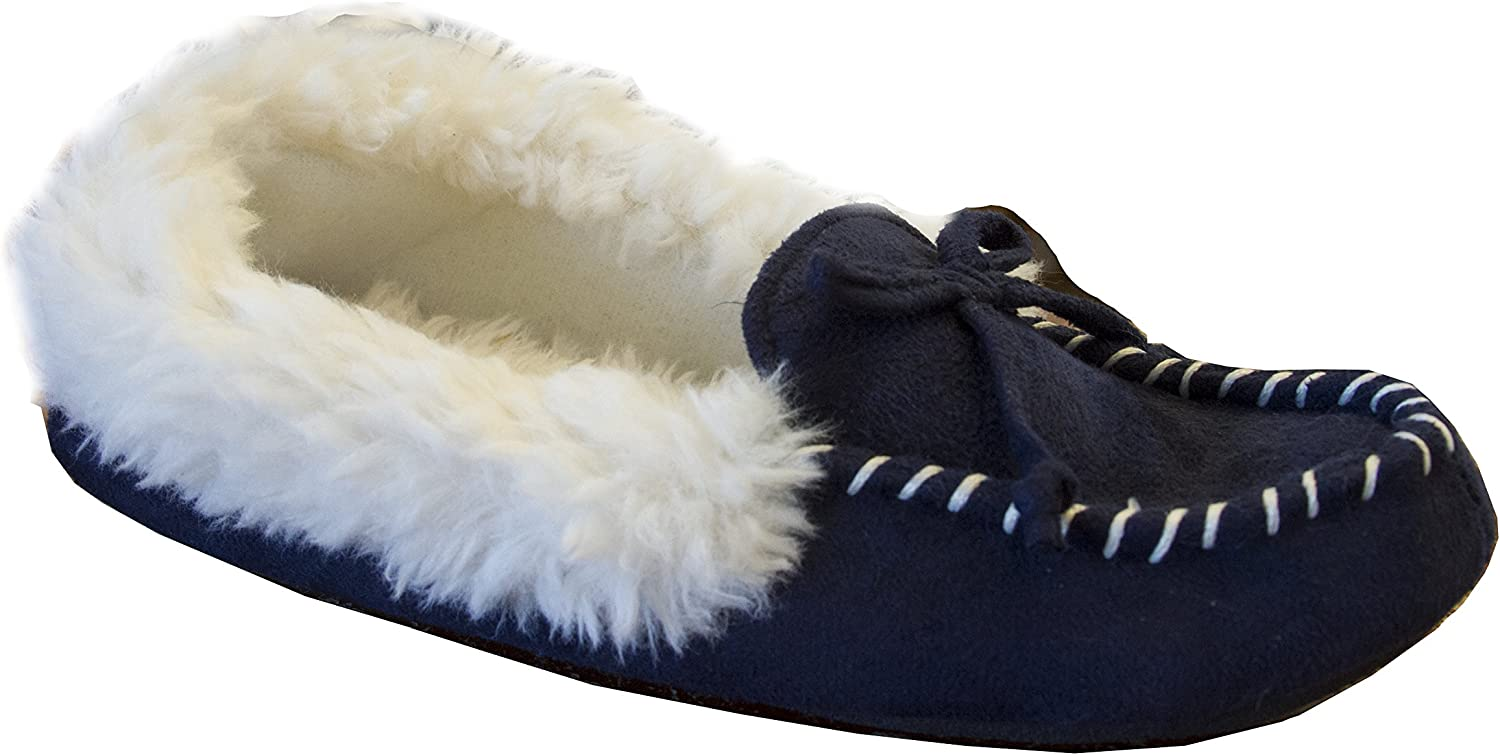 Isotoner Women's Microsuede Hilary Bow Detail Fur Trimmed Moccasin