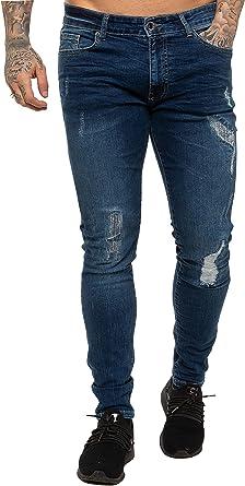 New ENZO Mens Skinny Super Stretch Fit Ripped Denim Jeans Mid Stonewash 32 W X 34L