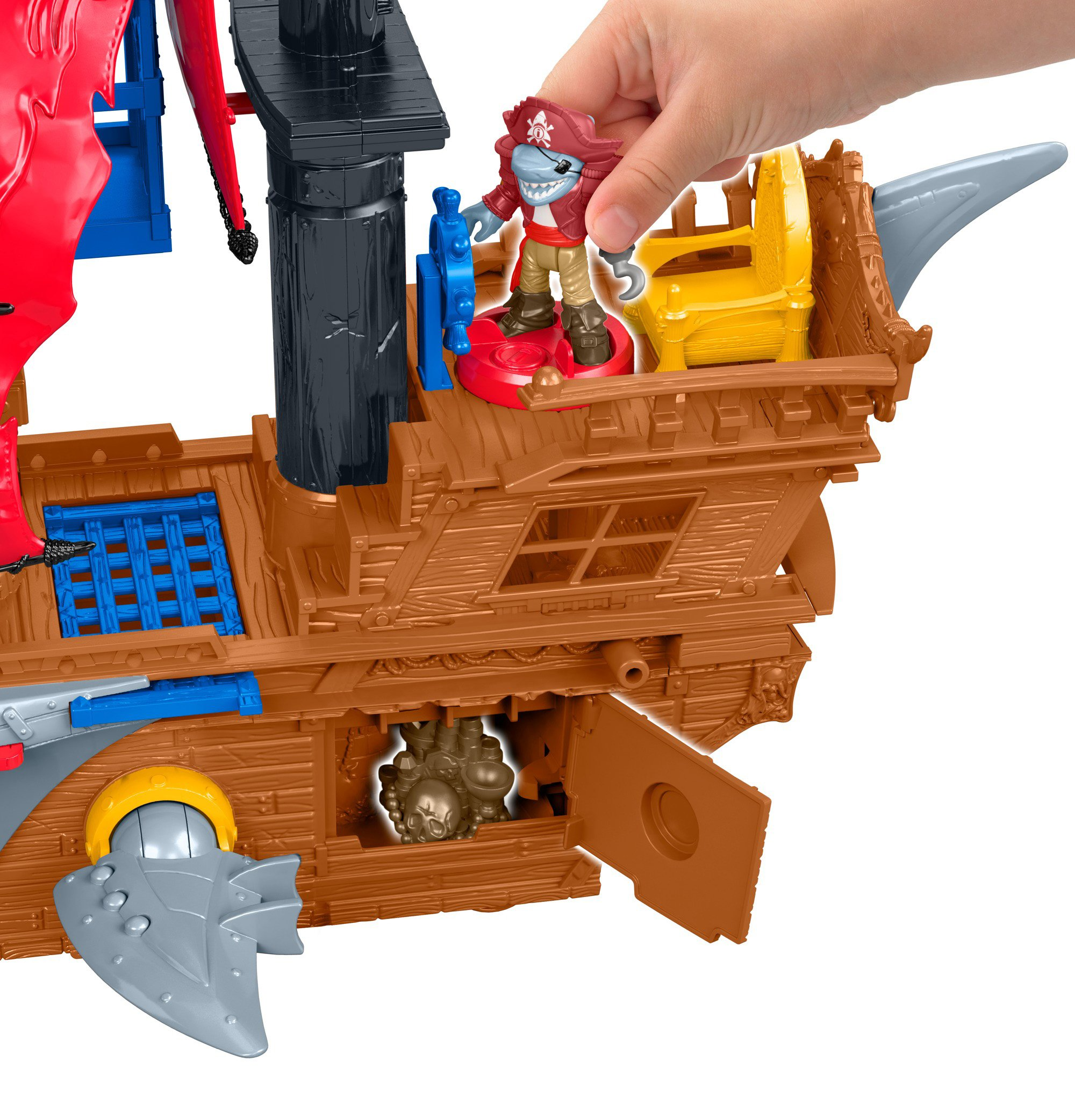 Fisher-Price Imaginext Shark Bite Pirate Ship, Playset with Pirate Figures and Accessories for Preschool Kids Ages 3 to 8 Years