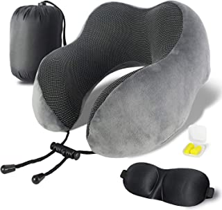 shengsite Travel Kit Including Sleeping mask & Travel Pillow Grey