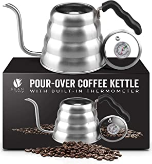Bean Envy Gooseneck Pour Over Coffee Kettle - 40oz/1.2L - Premium Grade Stainless Steel - Insulated BPA Free Plastic Ergonomic Handle - Glass Top With Built-In Thermometer