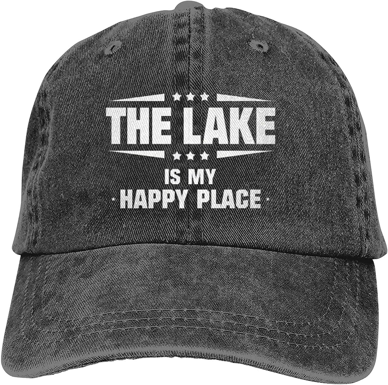 BGWORZD The Lake is My Happy Place Cowboy Caps Dad Baseball Hats Womens Mens Black