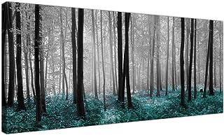 Wallfillers® - Lienzo impreso con el diseño de un bosque en tonos blanco negro y azul verdoso