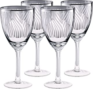 Artland Zebra Wine Glass, 14 oz, Silver, Set of 4