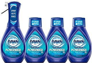 Dawn Platinum Powerwash Dish Spray, Dish Soap, Fresh Scent Bundle, 1 Starter Kit (16 fl oz) plus 1 refill (16 fl oz)