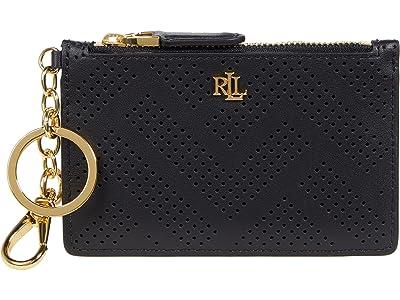 LAUREN Ralph Lauren Perforated Leather Zip Card Case Medium