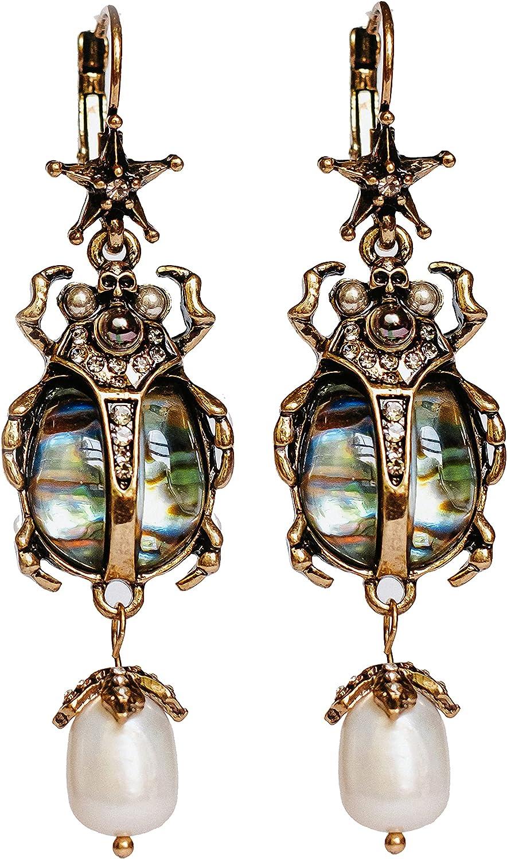 Drop Dangle Earrings For Women - Vintage Jewelry For Women- Unique Beetle Bug Scarab Weird Earrings - Fashion Abalone Shell Earring Gifts for Women