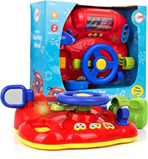 """Playkidz My First Steering Wheel, Driving Dashboard Pretend Play Set with Lights, Sound and Phone, 10""""x8"""", Recommended for..."""