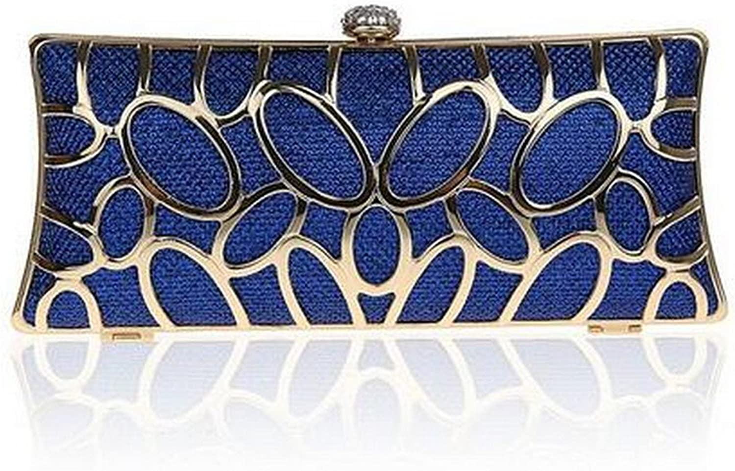 Diamonds Metal Hollow Out Style Women Evening Bags Alloy Mixed color Chain Shoulder Purse Evening Bags