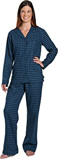 Noble Mount Womens Premium 100% Cotton Yarn Dyed Flannel Pajama Sleepwear Set