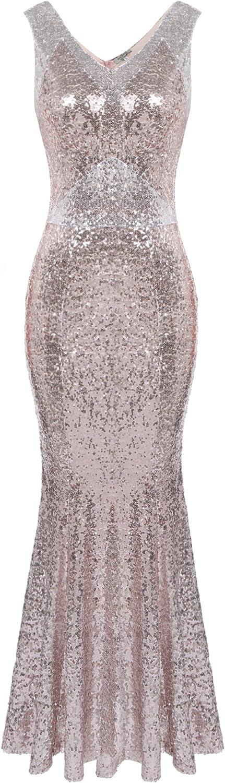 ANGVNS Sexy Sleeveless V Neck Sequins Sparkle Mermaid Bodycon Maxi Halloween Prom Dress
