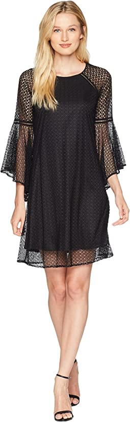 Keira - Bell Sleeve Texture Lace Combo Dress