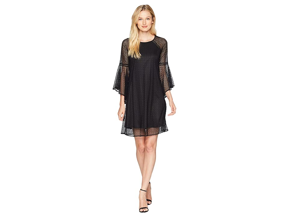 CeCe Keira Bell Sleeve Texture Lace Combo Dress (Rich Black) Women