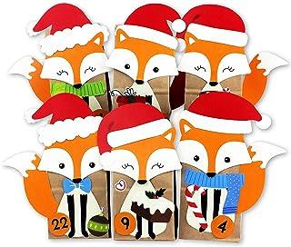 Papierdrachen DIY kalendarz adwentowy do wypełnienia - wykrojone lisy - z 24 brązowymi papierowymi torebkami do samodzieln...