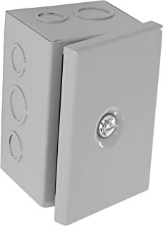 BUD Industries JBH-4944-KO Steel NEMA 1 Sheet Metal Box with Knockout and Hinged Cover, 4