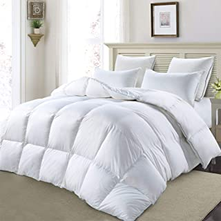 Royalay Luxurious Goose Down Comforter Queen Size Duvet Insert, All Season, Whiter Solid, 750+ Fill Power 42oz Fill Weight, 1200 Thread Count 100% Cotton Shell with 8Tabs, Hypo-allergenic(Queen,White)
