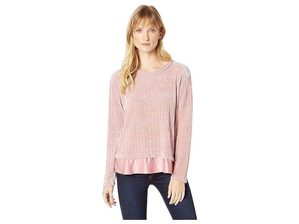 Mod-o-doc Chenille Rib Crew Neck Sweater with Satin Trim (Dusty Pink) Women