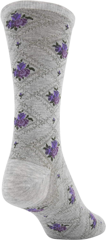 Gold Toe womens Diamond Floral Dress Crew Socks 3 Pairs