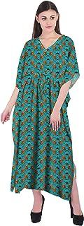 RADANYA Flowers Women's Casual Loose Maxi Long Kaftan Dress 3/4 Sleeve Cotton Caftan