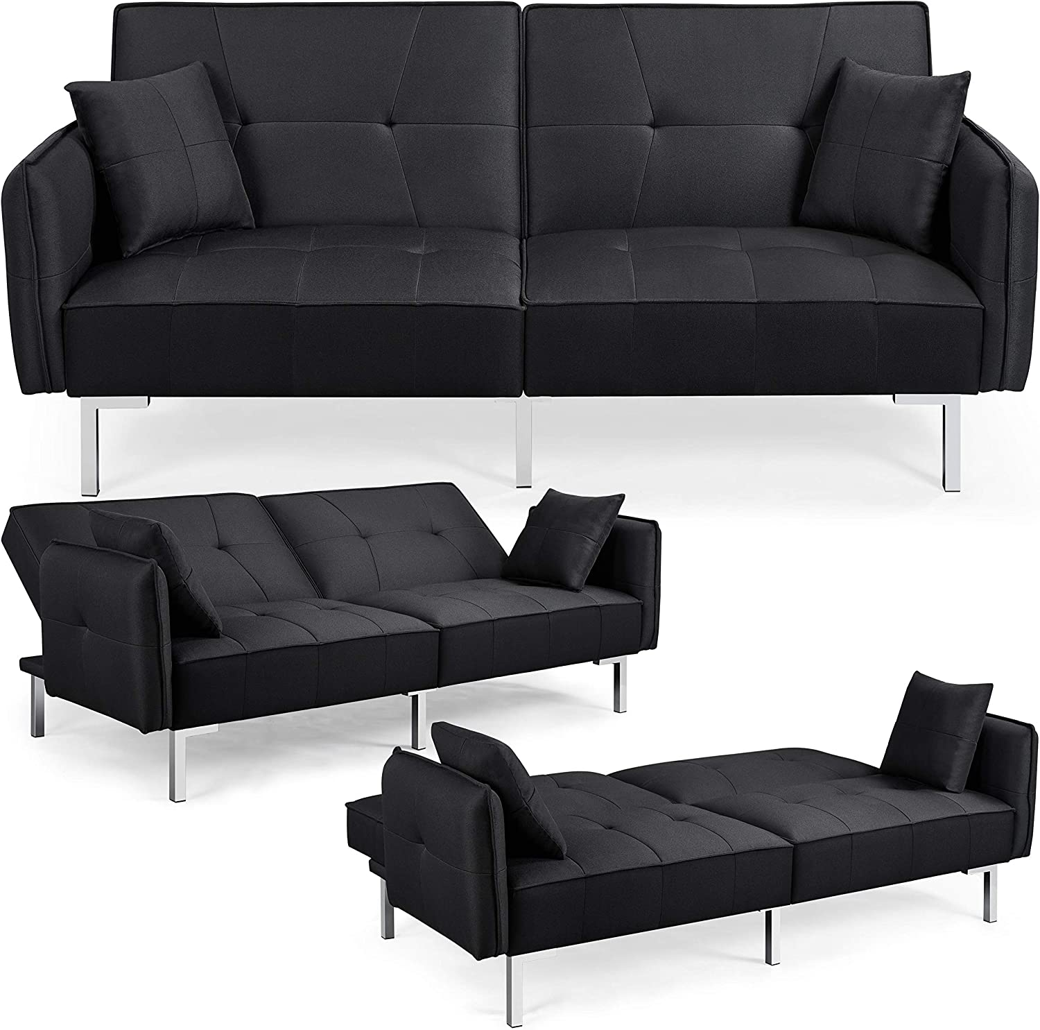 Yaheetech Fabric Sofa Bed 3 Seater Click Clack Sofa Couch Recliner Settee for Living Room//Bedroom with Arms/&2 Cushions Black