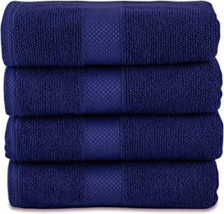 MAURA Premium Bath Towels 100% Cotton 27x54 Ultra Absorbent Quick Dry 4 Pack Soft Terry Bath Towels Set for Bathroom, Hotel and Spa Quality. (Bath Towel - Set of 4, Rich Navy)