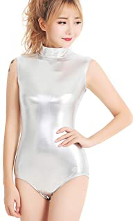 Adult Shiny Metallic One Pieces Turtleneck Dance Leotard Bodysuit Costume