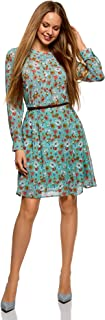 oodji Collection Women's Belted Dress in Flowing Fabric