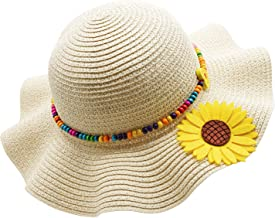 Kids Multi-Colors Large Brim Flower Beach Sun Hats