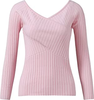Women's Long-Sleeved V-Neck Solid Color Stitching Casual Top