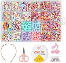 850PCS DIY Bead Set with a Coiling, a Scissors and 3 Hairpins, 24 Different Types and Shapes Colorful Amblyopia Training Acrylic DIY Beads in a Box, Children's Bead Necklace and Bracelet Crafts