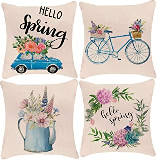 YCOLL Spring Pillow Covers 18x18 for Couch Set of 4 Farmhouse Decorative Throw Pillows Home Decorations