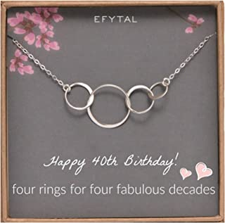 EFYTAL 40th Birthday gifts for women, Sterling Silver Four Circle Necklace For H