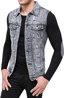 c8085ac75653 Evoga Smanicato di Jeans Uomo Denim Giubbotto Gilet Casual Slim Fit
