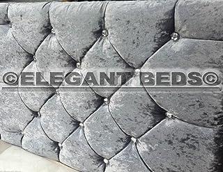 Elegant Beds Cabecero de terciopelo arrugado con diamantes, gran calidad, 51 cm de altura, piel sintética, Plateado, 1,83 m Super King
