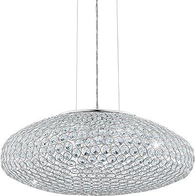 EGLO Pendelleuchte Clemente, 3 flammige Hängelampe, Elegant, Hängeleuchte aus Stahl und Kristall in chrom, Klar, Esstischlampe, Wohnzimmerlampe hängend mit E27 Fassung
