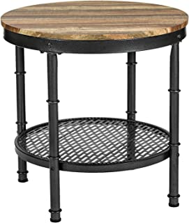 IRONCK Round End Tables with Storage Rack, Sofa Side Table for Living Room, Industrial Home Furniture, Easy Assembly, Vintage Brown