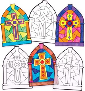 Baker Ross Cross Color in Window Stained Glass Decorations (Pack of 12) AW297, for Kids to Decorate and Display