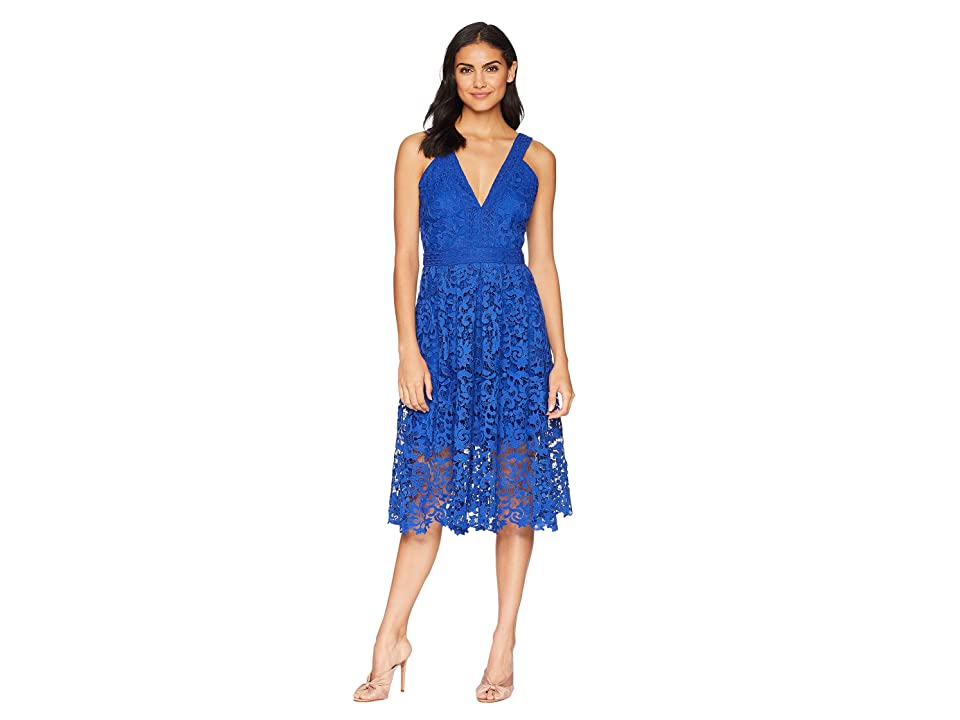 Adelyn Rae Marilyn Woven Lace Midi Dress (Cobalt) Women