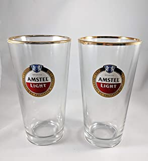 Amstel Light 24 K Gold Rimmed Pint Glass | Set of 2 Glasses