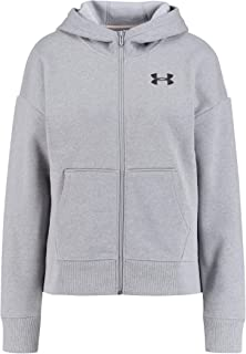 Under Armour Women's Originators Fleece Hooded Fz Lc Logo Jacket, Grey (Steel Light Heather/Apex Pink Black), Medium