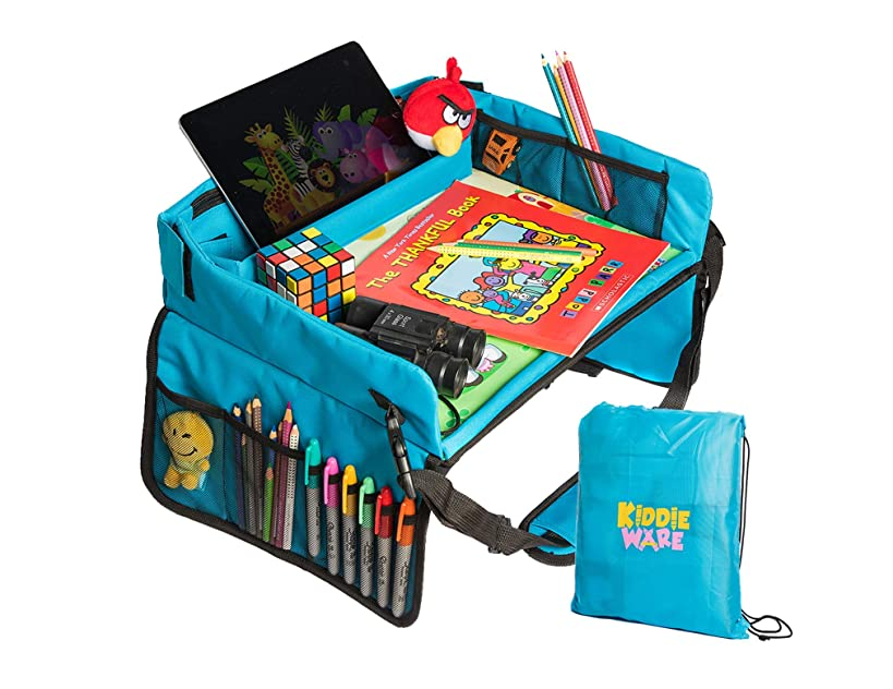 Kids Travel Tray - Portable Play Tray to Keep Baby, Toddler or Child Occupied During Travel In Stroller, Car and Airplane – Lap Table for Snacks, Tablet, and Activities – Solid Organizer with Free Bag